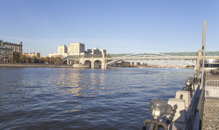 View of the Pushkinsky (Andreevsky) Bridge and the Moskva River. Moscow, Russia Stok Fotoğraf