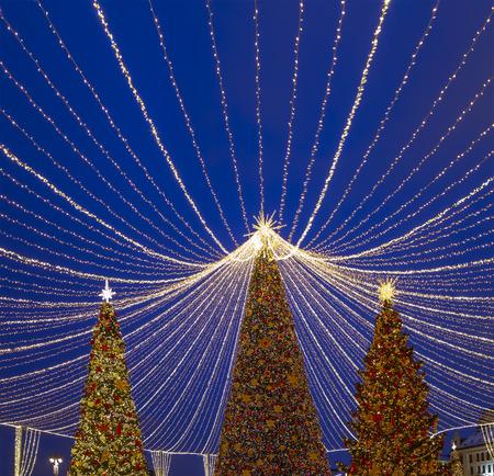 Christmas (New Year holidays) decoration in Moscow (at night), Russia. Lubyanskaya (Lubyanka) Square.