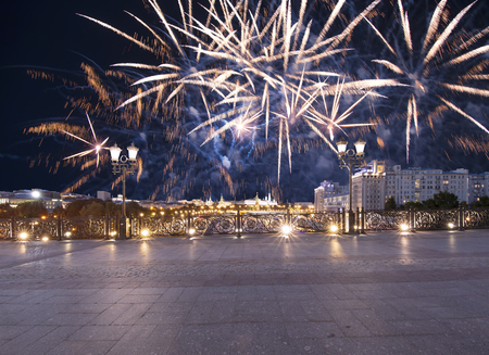 Fireworks over the Kremlin (at night), Moscow, Russia--the most popular view of Moscow