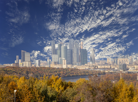 View of the city and the complex of skyscrapers Moscow city from Sparrow Hills or Vorobyovy Gory observation (viewing) platform-- is on a steep bank 85 m above the Moskva river, or 200 m above sea level. Moscow, Russia Zdjęcie Seryjne