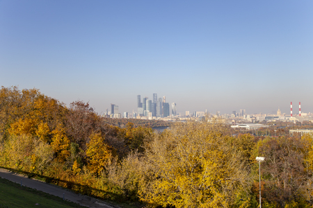 view of central Moscow from Sparrow Hills or Vorobyovy Gory observation (viewing) platform-- is on a steep bank 85 m above the Moskva river, or 200 m above sea level. Moscow, Russia