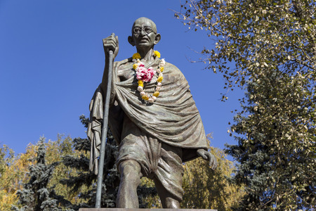 The monument of the famous Indian political and spiritual leader Mahatma Gandhi on the Lomonosovskiy prospect. Moscow, Russia Editorial