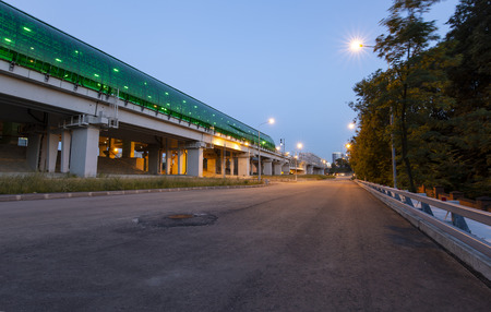 Moscow Central Circle - Little Ring, MCC,or MK MZD (at night), Russia. Delovoy Tsentr  railway station.
