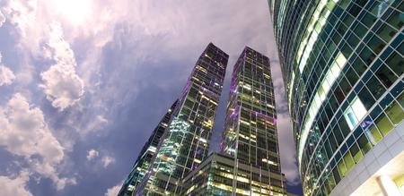 モスクワ、モスクワ国際ビジネスセンター(シティ)の超高層ビル 写真素材