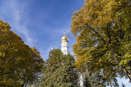 Ivan the Great Bell Tower (Kolokolnya Ivana Velikogo). Inside of Moscow Kremlin, Russia (day). Фото со стока
