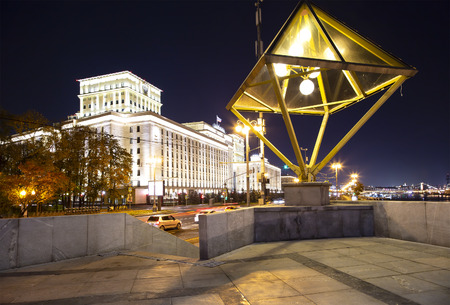 Main Building of the Ministry of Defence of the Russian Federation (Minoboron), at night-- is the governing body of the Russian Armed Forces. Moscow, Russia