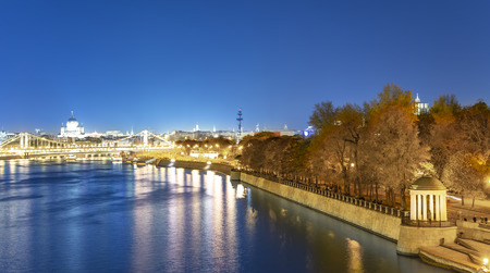 Pushkinskaya embankment in Gorky Park in Moscow, Russia (architect M. F. Kazakov built in the early nineteenth century), at night