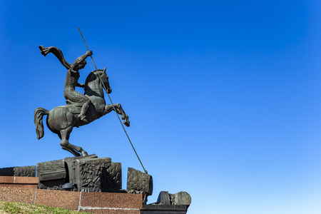 Monument to Saint George slaying a dragon on Poklonnaya hill in Victory Park, Moscow, Russia-- memorial complex constructed in memory of those who died during the Great Patriotic war Imagens