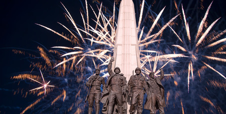 Fireworks over the Monument to the Hitler Coalition, Alley Partisan in Victory Park on Poklonnaya hill, Moscow, Russia