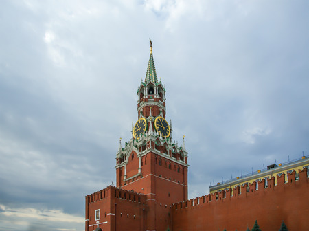 Spasskaya Tower is the main tower with a through-passage on the eastern wall of the Moscow Kremlin, Red Square, Russia Stock Photo - 126535315