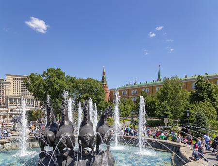 Sculptural composition The Four seasons (fountain) in Alexandrovsky garden near the Kremlin. Moscow, Russia (day) Editöryel