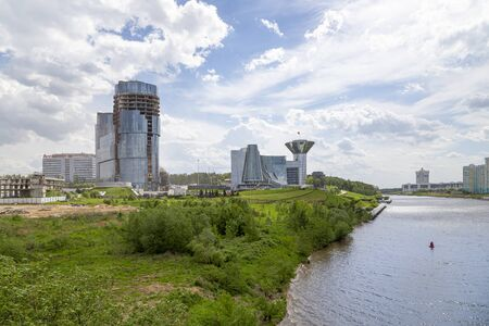 High-rise residential buildings on the river bank, Krasnogorsk, Moscow region, Russia