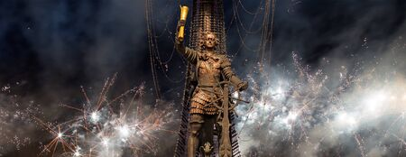 Celebratory colorful fireworks and the Peter the Great Statue, Moskow. Russia