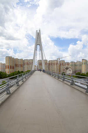 Pavshinsky Bridge (also bridge Pavshinskaya Poima or Spassky Bridge) is pedestrian cable-stayed bridge across Moskva River. Krasnogorsk, Moscow region, Russia