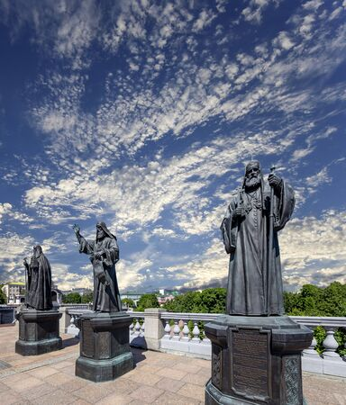 Monuments of the sculptural complex Patriarchs of Moscow and all Russia near the Cathedral of Christ the Savior. Moscow, Russia.