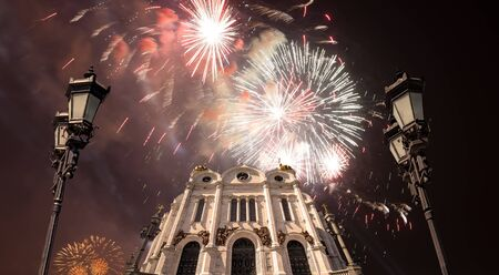Fireworks over the Christ the Savior Cathedral Standard-Bild