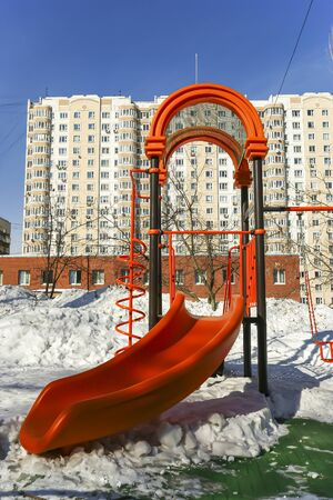 Playground snowy winters, Moscow, Russia 스톡 콘텐츠