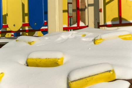 Playground snowy winters, Moscow, Russia 写真素材