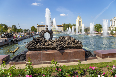 Fountain Stone Flower at VDNKh in Moscow. VDNKh (called also All-Russian Exhibition Center) is a permanent general-purpose trade show in Moscow, Russia Sajtókép