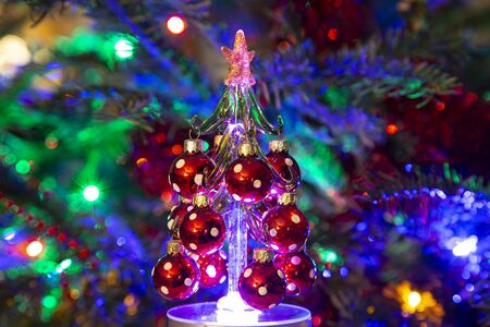 Beautiful christmas tree with decorative chritmas toys