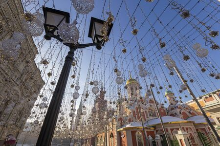 Christmas (New Year holidays) illumination on Nikolskaya Street near the Moscow Kremlin, Russia