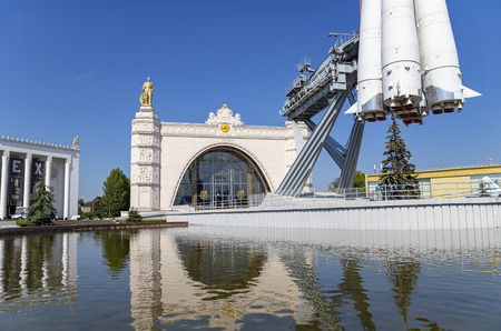Spaceship Vostok (monument to the first Soviet rocket) shown at VDNKH park in Moscow, Russia.