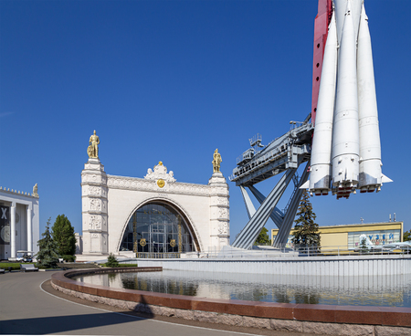 Spaceship Vostok (monument to the first Soviet rocket) shown at VDNKH park in Moscow, Russia