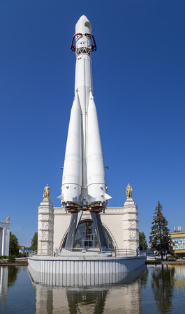 Spaceship Vostok shown at VDNKH park in Moscow, Russia.
