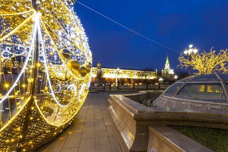 Christmas (New Year holidays) decoration in Moscow (at night), Russia-- Manege Square near the Kremlin   Banque d'images