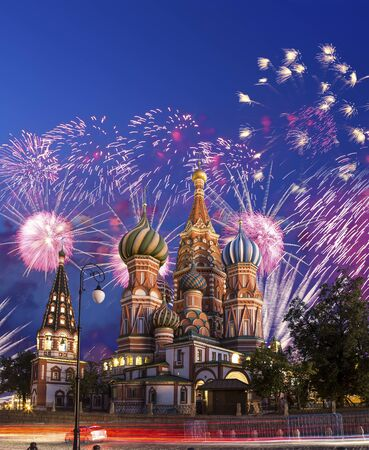 Cathedral of Intercession of Most Holy Theotokos on the Moat ( Temple of Basil the Blessed) and fireworks in honor of Victory Day celebration (WWII), Red Square, Moscow, Russia.