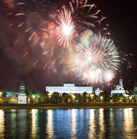 Moscow Kremlin and fireworks in honor of Victory Day celebration (WWII),  Red Square, Moscow, Russia-- the most popular view of Moscow