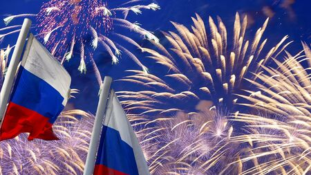 Russia flag waving in the wind and fireworks in honor of Victory Day celebration (WWII), Moscow, Russia. Three colors of Russian wavy flag as a patriotic symbol