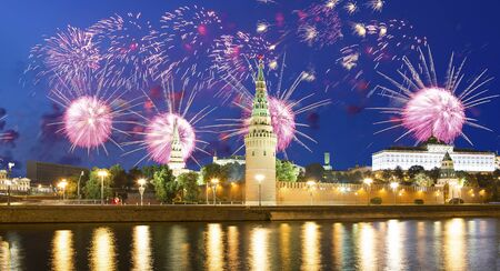 Moscow Kremlin and fireworks in honor of Victory Day celebration (WWII), Red Square, Moscow, Russia-- the most popular view of Moscow Imagens