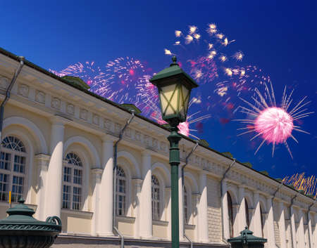 Fireworks over the Manege Exhibition Hall (Manege Square near the Kremlin), Moscow. Russia