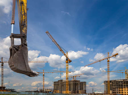 Part of a construction machine (excavator or crane) on the background construction site, industrial image. Moscow, Russia Stockfoto