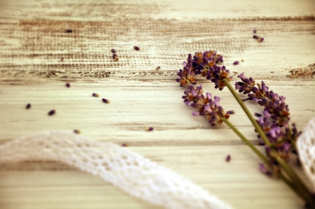 Little lavender bouquet on wooden basis  photo