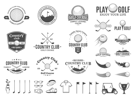 Set of golf country club icon templates. Golf labels with sample text. Golf icons for golf tournaments, organizations and golf country clubs.
