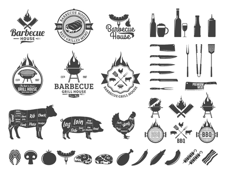 Barbecue icon and labels. BBQ, meat, vegetables, beer, wine and equipment icons for cafe, bar and restaurant menu, brandign and identity.