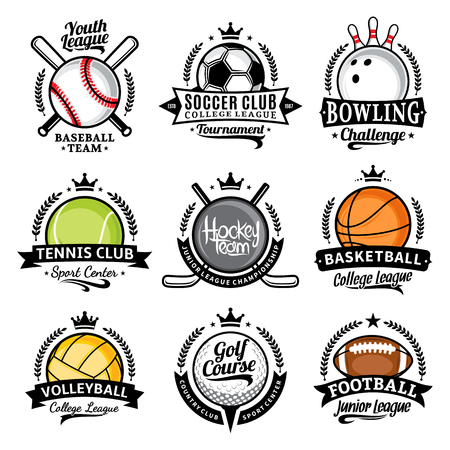 Set of vector sport emblems and labels. Sport icons for tournaments, organizations, apparel and team identity.