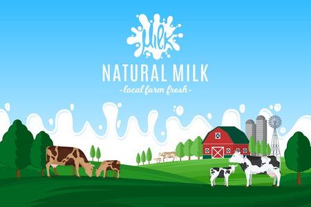 Vector ilustración de leche con salpicaduras de leche. Paisaje rural de verano con vacas, terneros y granja. Ilustración de vector