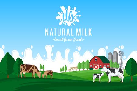 Vektormilchillustration mit Milchspritzen. Ländliche Landschaft des Sommers mit Kühen, Kälbern und Bauernhof. Vektorgrafik