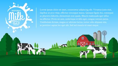 Vector ilustración de leche con salpicaduras de leche. Paisaje rural de verano con vacas, terneros y granja.