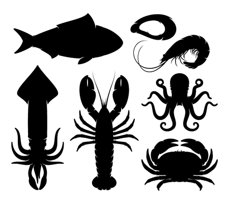 Seafood silhouettes collection. Sea animal, isolated on white for your work.