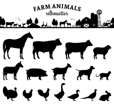 Vector farm animals silhouettes. Isolated on white background. Livestock and poultry icons. Rural landscape with trees, plants, farm animals and farm. Vettoriali