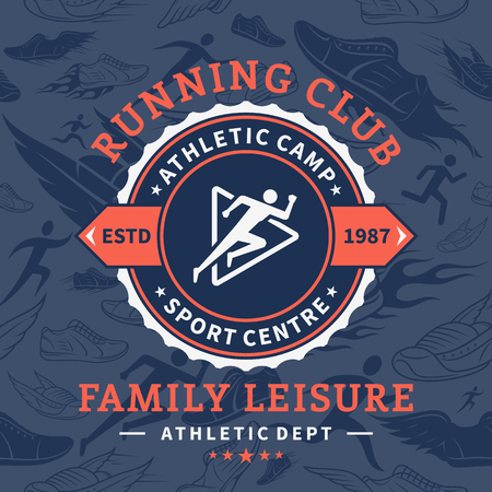 Running club label template. Stock Illustratie