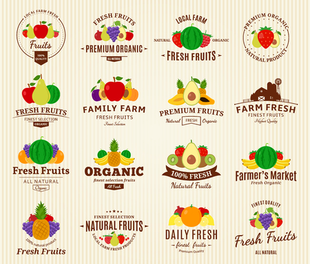 Set of fruit icon templates. Fruit labels with sample text. Fruits icons for groceries, agriculture stores, packaging and advertising. Vector icon design.