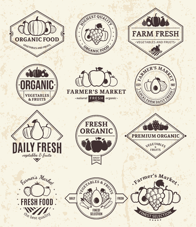 Set of fruit and vegetables retro styled templates. Fruit and vegetables labels with sample text. Fruits and vegetables icons for groceries, agriculture stores, packaging and advertising. Vector logotype design.