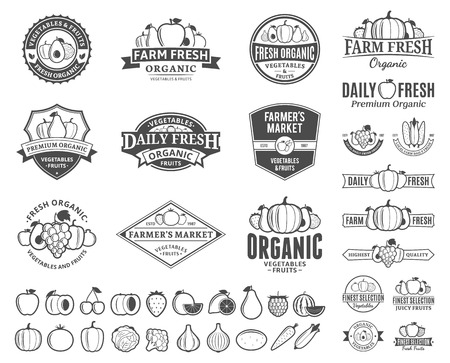 Set of fruit and vegetables logo templates.