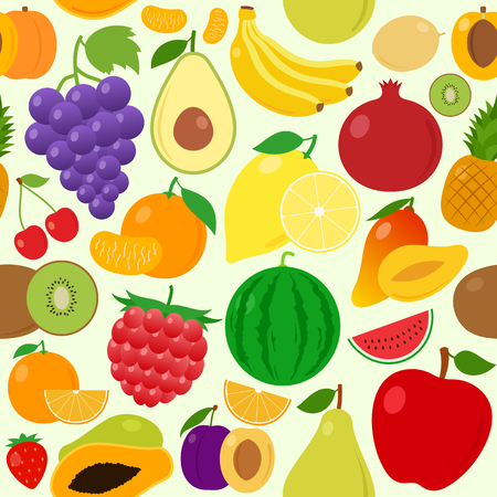 Vector fruits seamless pattern or background. Fruits design elements and icons for web, stores, package and advertising. Illustration