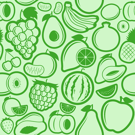Vector fruits seamless pattern or background. Fruits design elements and icons for web, stores, package and advertising